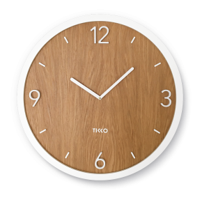 Big large modern white wooden oak wall clock minimal exclusive design