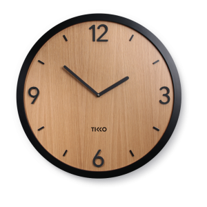 Big large modern black wooden oak wall clock minimal exclusive design